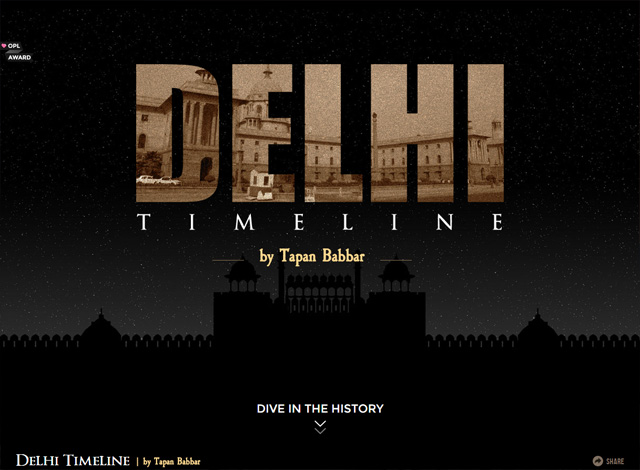 One-page website: Delhi Timeline