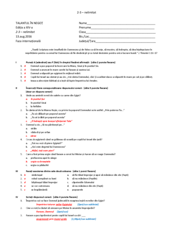 Grilă Faza Internațională – Exodul