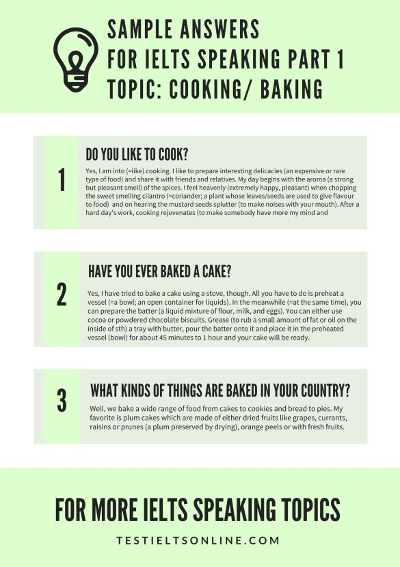 [testIELTSonline.com]Band 8 Sample Answers for IELTS Speaking Part 1 Topic Cooking Baking Sep - Dec 2021