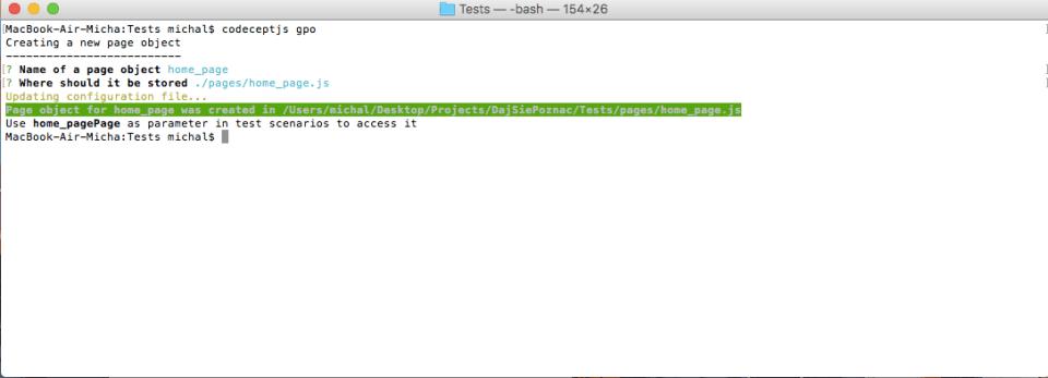 page object model codeceptjs