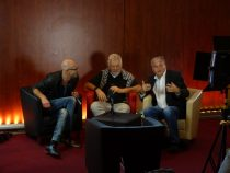 Fabio Frizzi (Mitte) im Gespräch mit Ingo Knott und Michael Flintrop