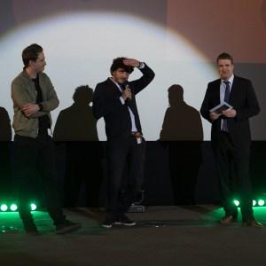 Sebastian Mayr (mitte) beim 19. Landshuter Kurzfilmfestival