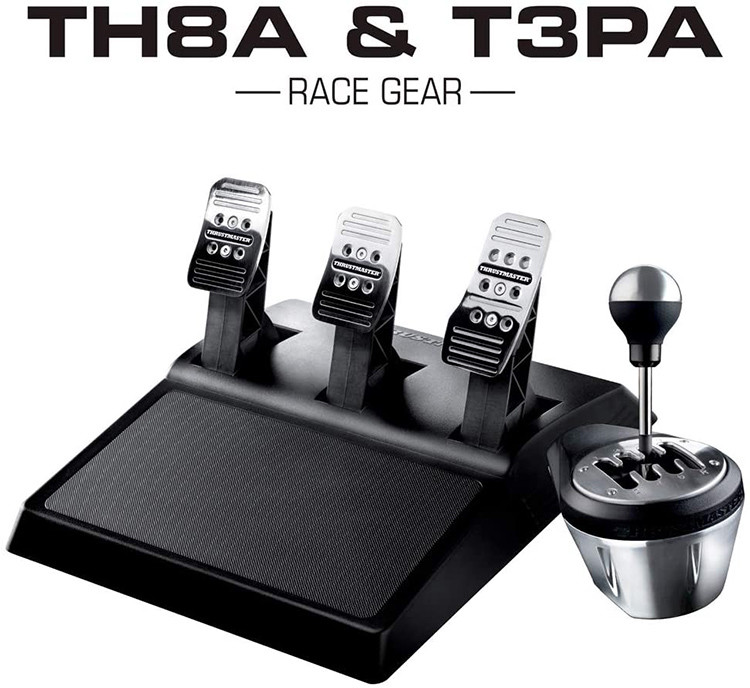 Thrustmaster pack boîte de vitesses TH8A Add-On + pédalier 3 pédales T3PA