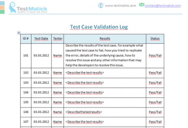 Test Case Validation Log  TestMatick