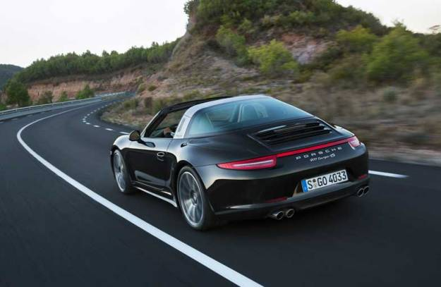 Porsche-911-Targa-Black-Driving-Rear