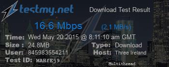 16.6Mbps test result