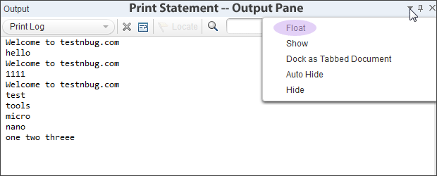 How to use Print Statement or Print log functionality in UFT