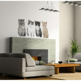 Adhésifs de chats en trompe-l'oeil http://www.wallsweethome.fr/fr/stickers-muraux/stickers-animaux/stickers-deco-4-chats/