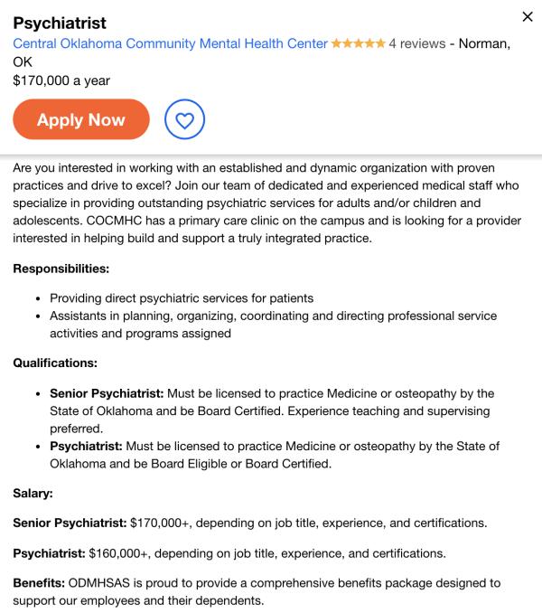 psychiatrist job ad
