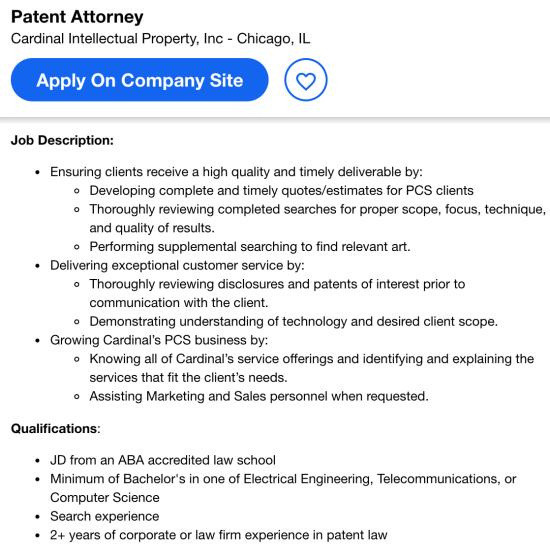 patent attorney job opening
