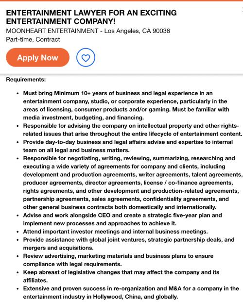 entertainment lawyer job description