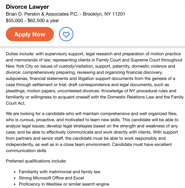 divorce lawyer attorney job opening