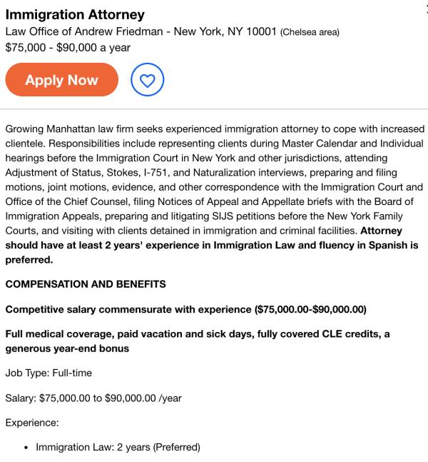 immigration attorney job openin