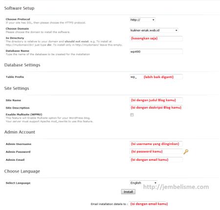 cara membuat site dengan WordPress self hosting dengan softaculous
