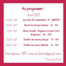 Au programme ! Avril 2021
