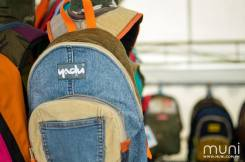 Yadu backpacks are carefully stitched together with upcycled fabric, making for truly one-of-a-kind pieces