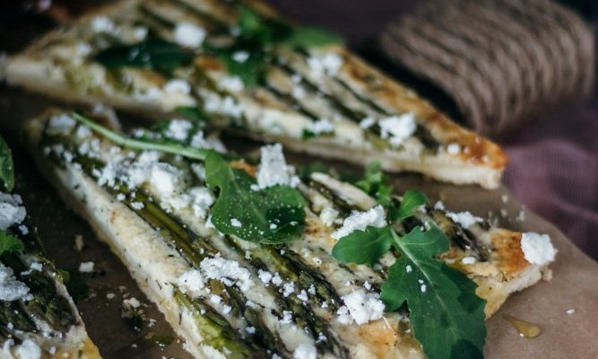 Spring asparagus and fresh garlic tart