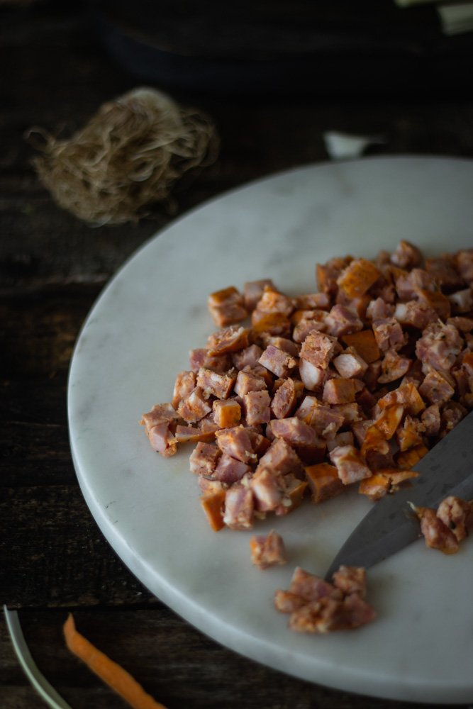 Carrot and country sausage trachanoto