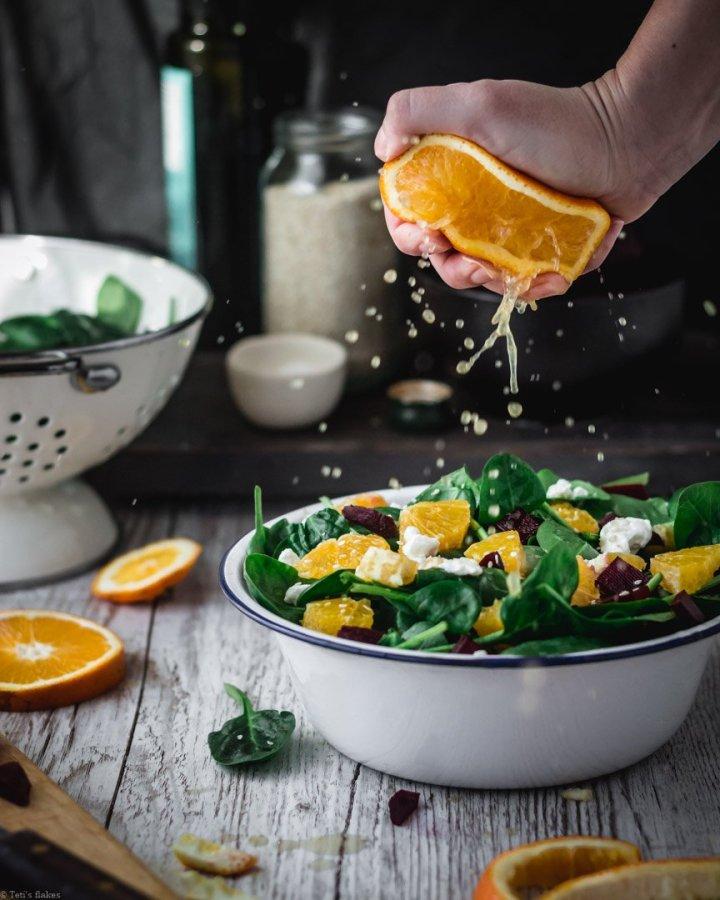 Beetroot orange and feta salad