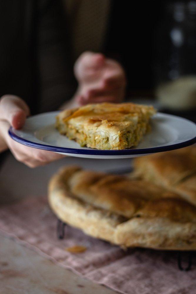 Homemade pie with leek
