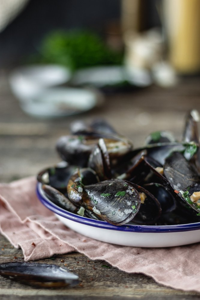 pasta with steamed mussels