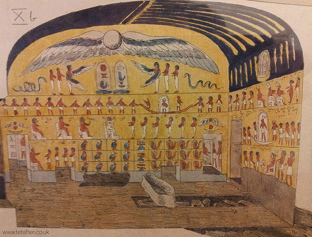A small reproduction of the burial chamber, including wall decorations and sarcophagus in the middle of the floor