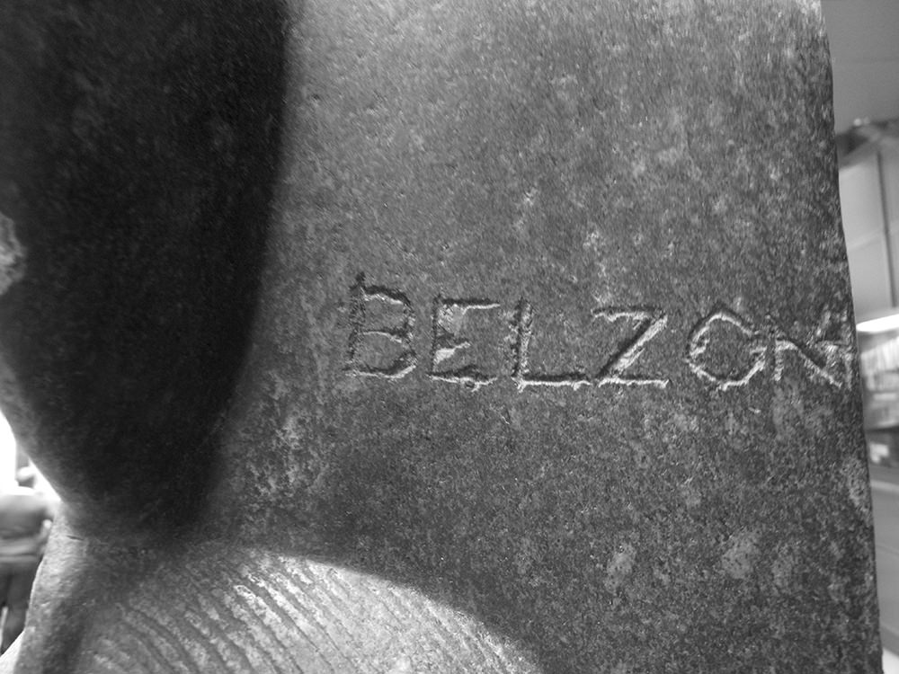 A closeup of where Belzoni carved his name into the side of the right-hand Sekhmet