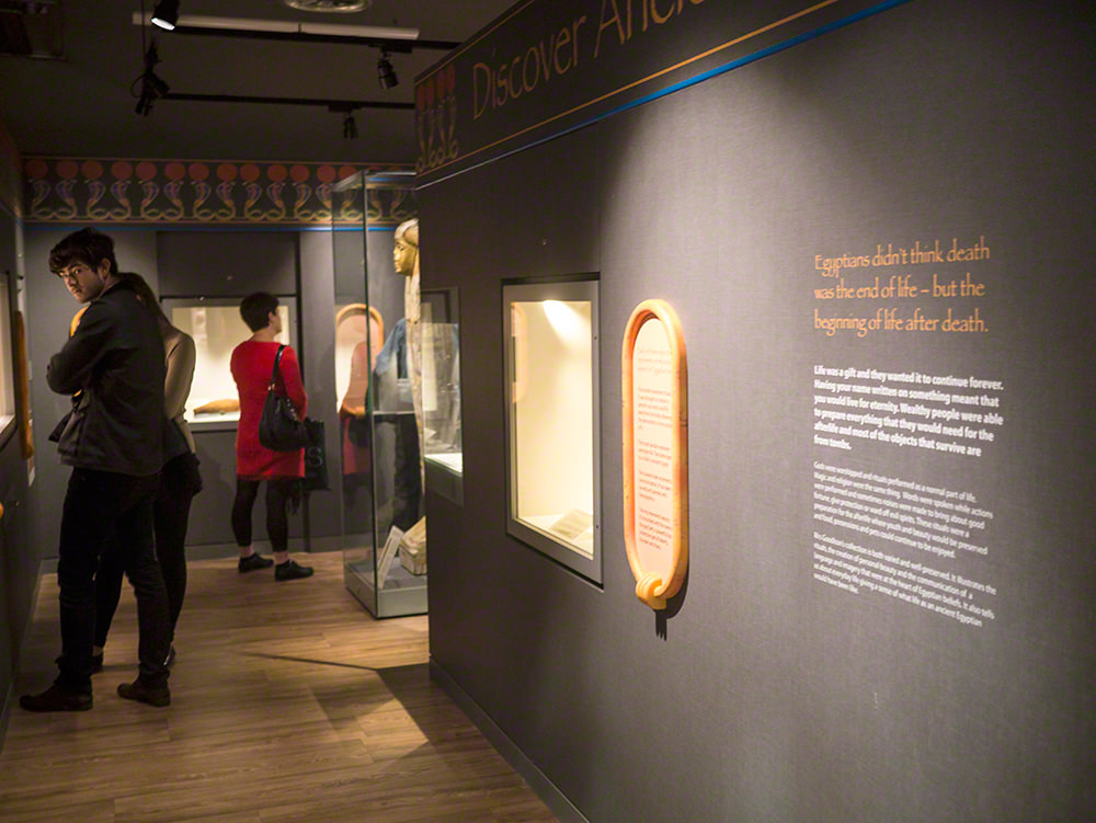 Part of the gallery with people standing and looking at display cases