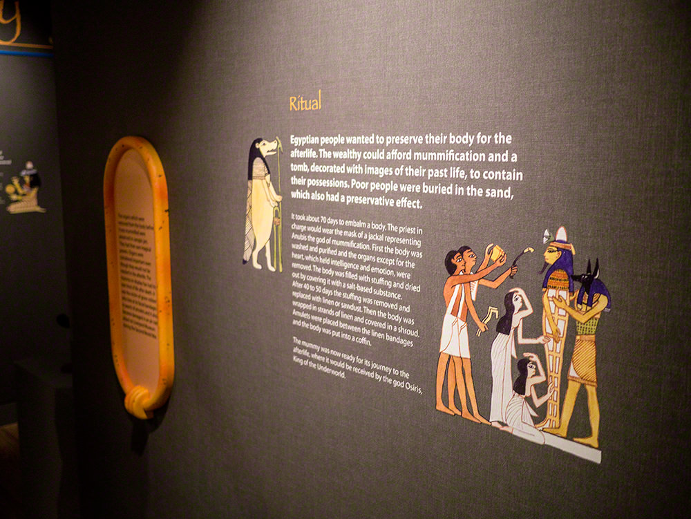 One of the information panels on the wall, telling visitors about Egyptian rituals