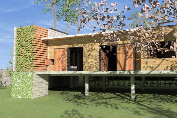 FACHADA OESTE_detalhe da Torre Sul com banheiro externo e fechamento com brises de madeira