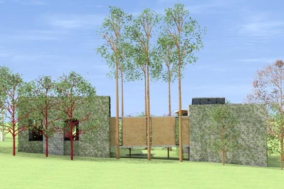 FACHADA SUL_detalhe do alinhamento das janelas com os troncos das árvores
