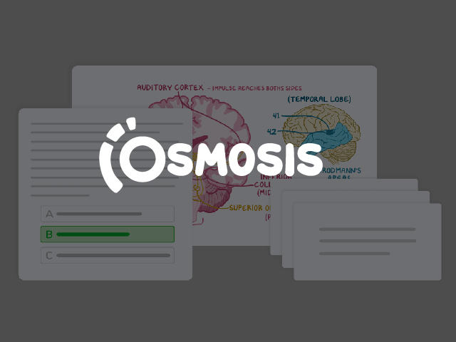 Osmosis Large Logo and depiction of flashcards and videos