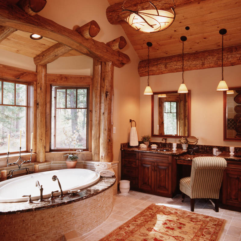 Granite Ridge Log Cabin Master Bathroom  Teton Heritage Builders