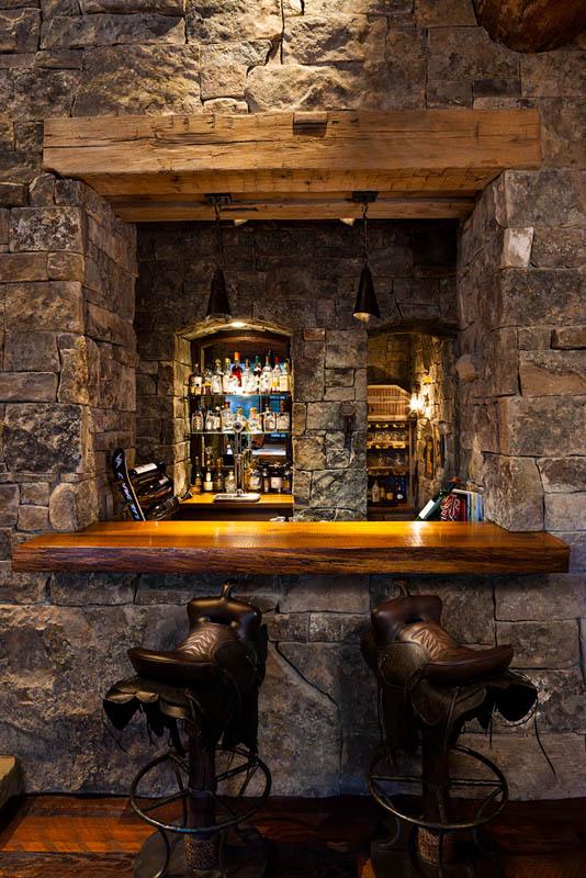 Foxtail Residence Big Sky Log Cabin Bar  Teton Heritage