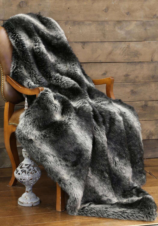 Black Wolf Faux Fur Throw  Teton Timberline Trading