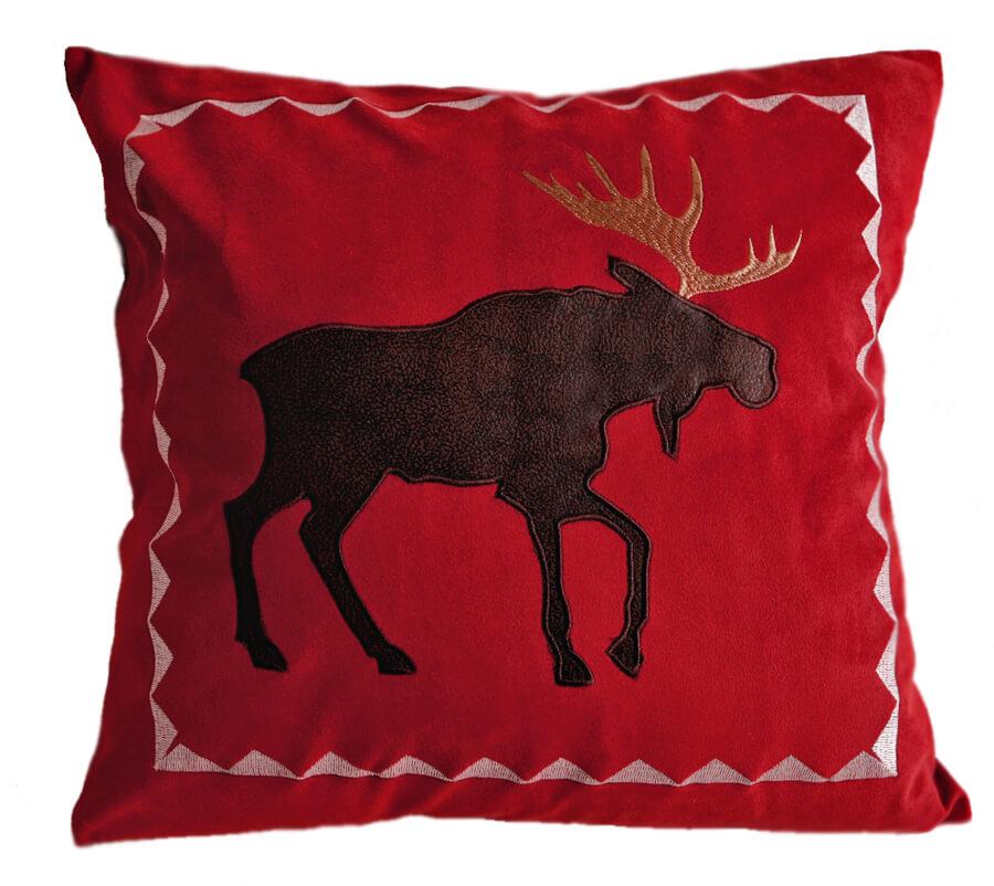 Moose Be Red Velvet Pillow  Teton Timberline Trading