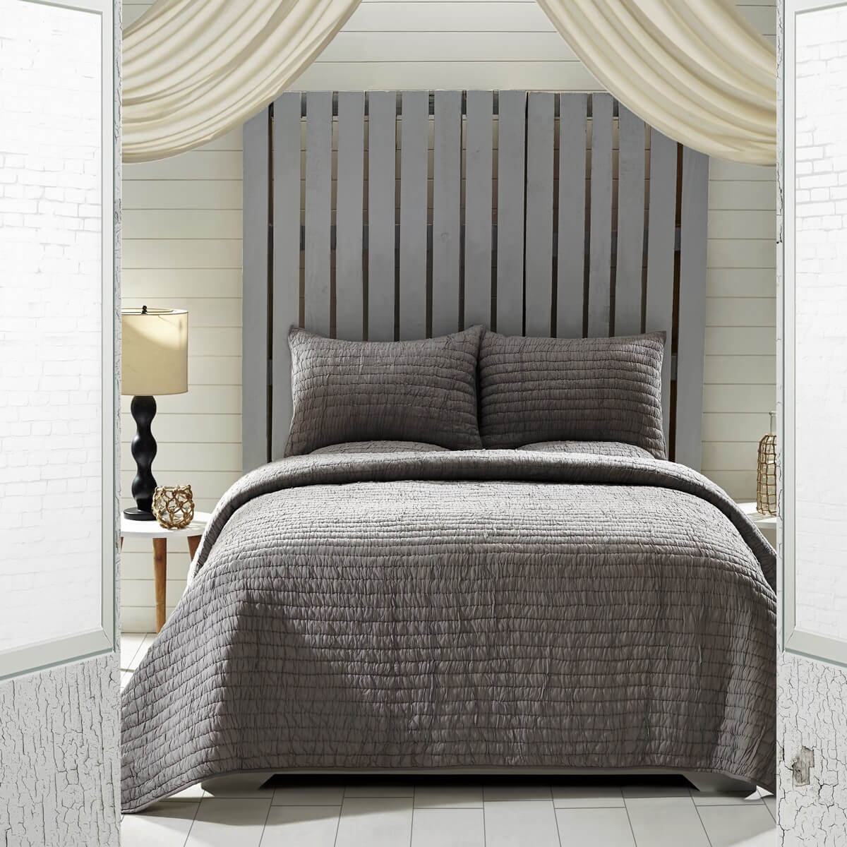 Rochelle Grey King Quilt Set  Teton Timberline Trading