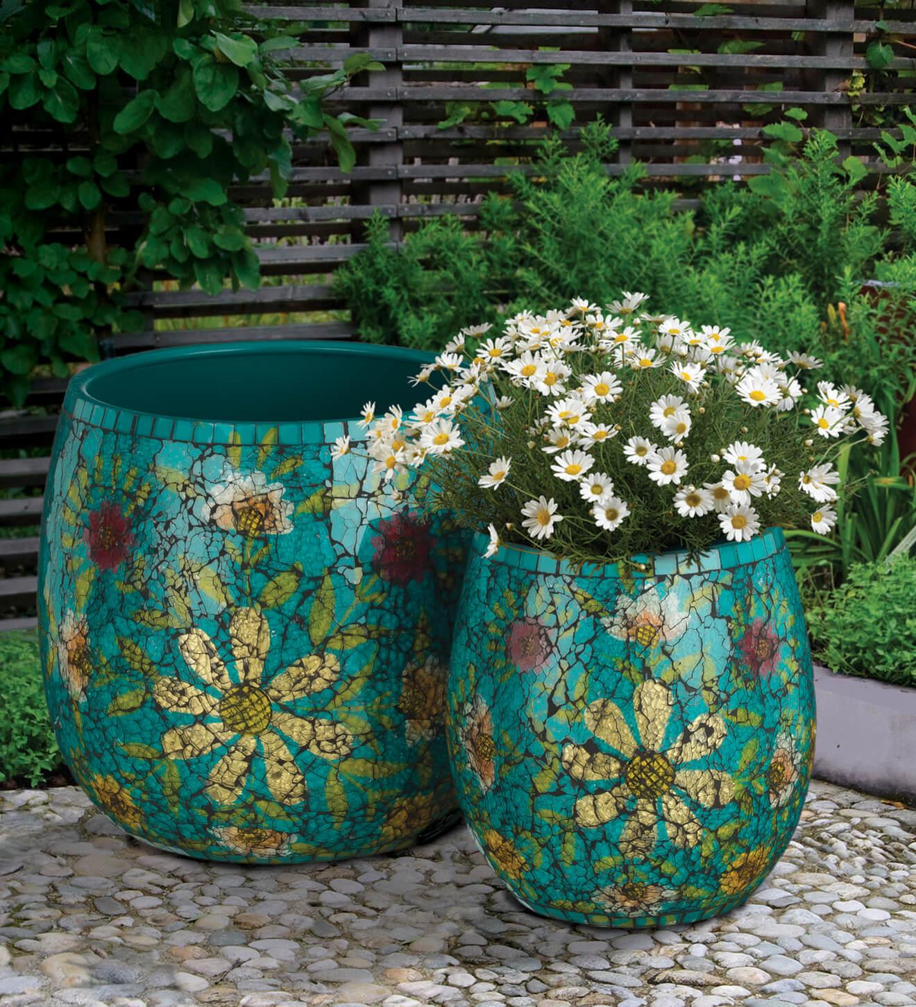 Aqua Floral Mosaic Planter Set  Teton Timberline Trading