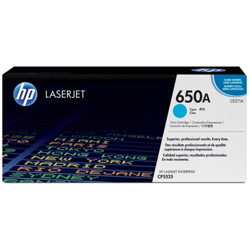 HP 650A Cyan LaserJet Toner Cartridge CE271A