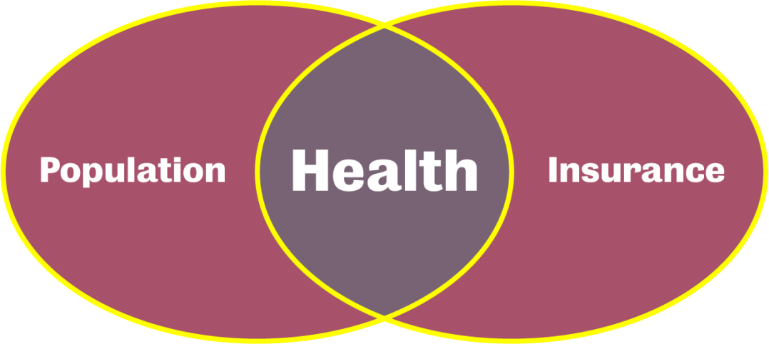 Venn diagram with Population circle overlapping with Insurance circle, to form a Health circle in the center.