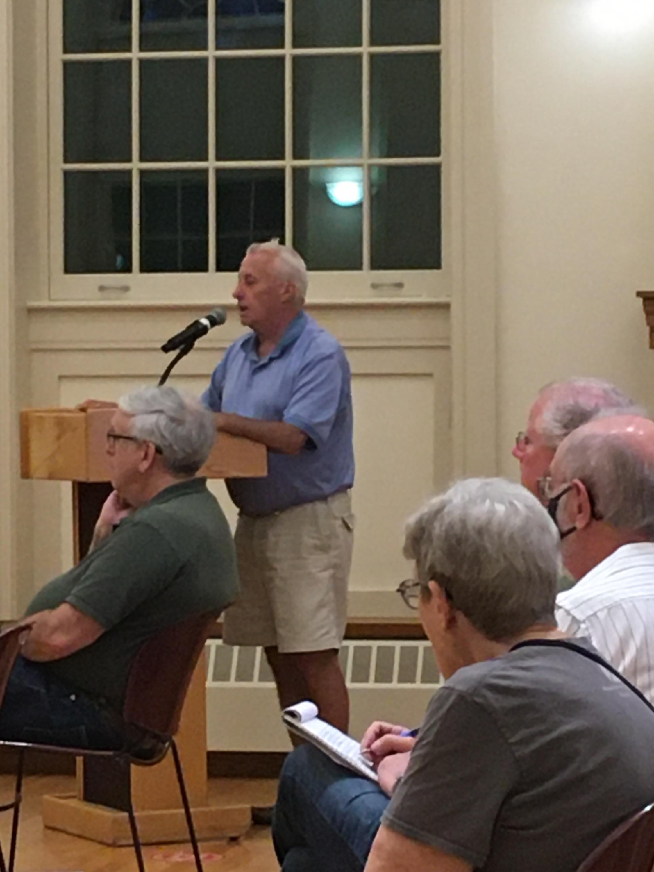 Bob O'Brien of Cardigan Rd. addresses the board