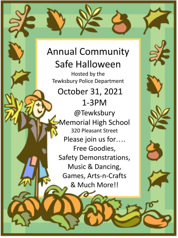 Tewksbury Safe Halloween poster