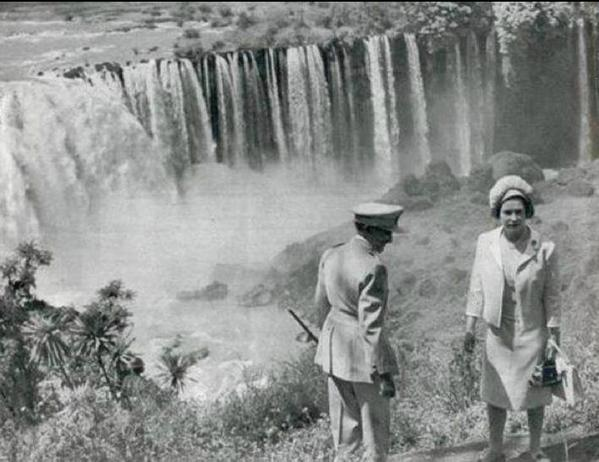 A historic moment on Blue Nile Falls: Queen Elizabeth II of Britain with Emperor HaileSelassie I of Ethiopia in 1965