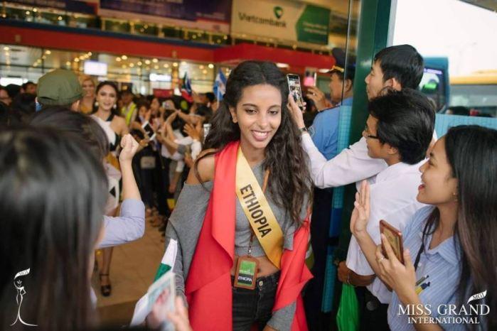 Miss Ethiopia arrives at Dong Hoi Airport, Quang Binh, Vietnam