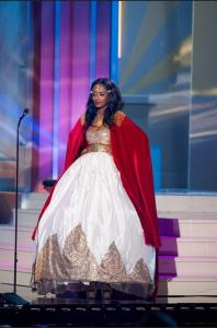 Ethiopia's Hiwot Bekele at Miss Universe Pageant preliminary show on Jan. 22