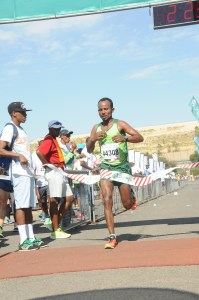 Sintayehu Legese Yinesu from Ethiopia won the men's 2015 Old Mutual Soweto Marathon 42.2 km race