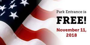 PARK ENTRANCE IS FREE!  November 11, 2018