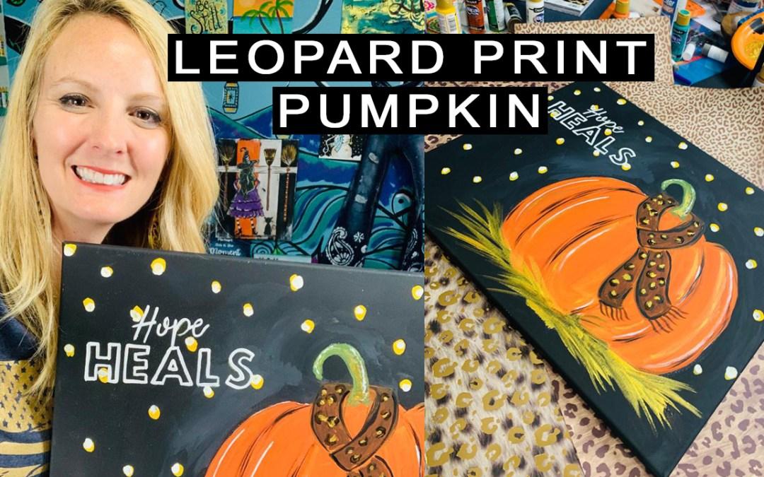 leopard print pumpkin painting