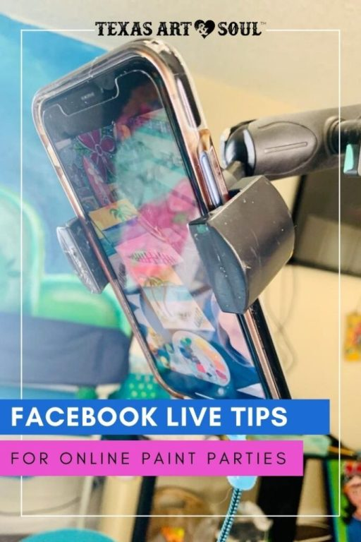 cell phone in a holder filming a paint party online