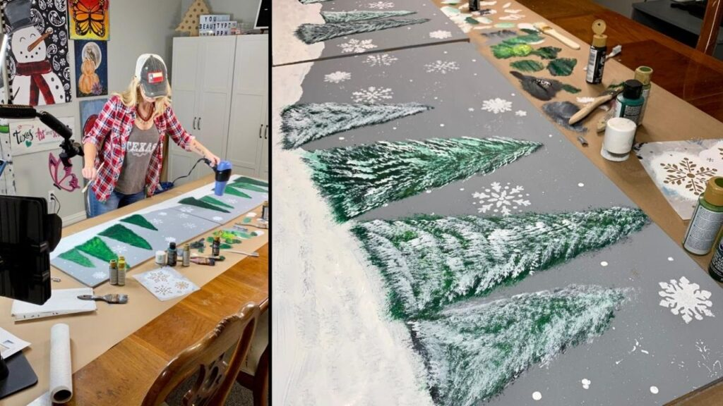 Christmas mantle backdrop with snow-flocked trees and snowflakes
